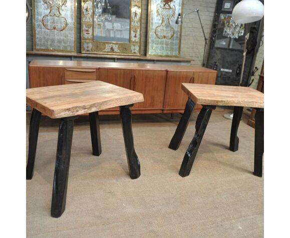 Ensemble brutaliste table avec ses 4 tabourets en orme 1960