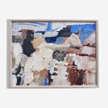 'Abstract Palette' - Vintage Mid Century Swedish Abstract Framed Huile