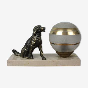 Lampe vintage marbre et chien régule