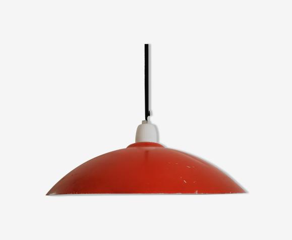Suspension coupelle rouge en métal ancienne années 70