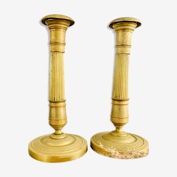 Bougeoirs Empire en laiton doré