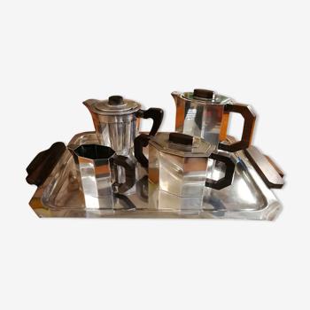 Service à café/thé art déco, métal argenté, Maillechort
