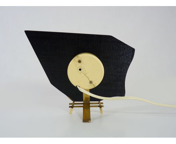 Horloge de table électrique Hilbink vintage, pendule marbre et laiton. Année 50