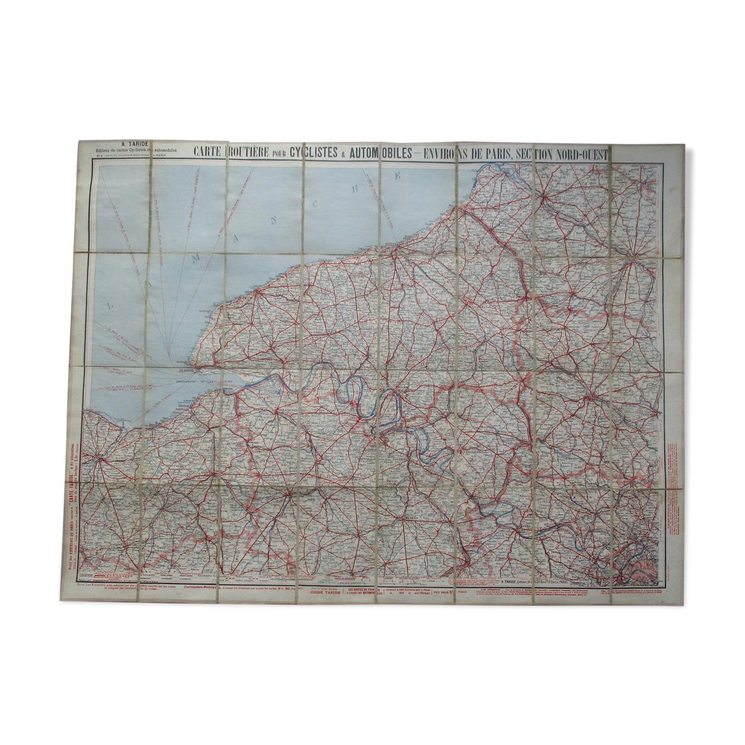 Carte ancienne Taride Environs de Paris nord- ouest ,entoilée