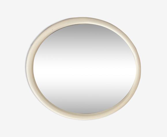 Miroir ovale en bois mélaminé blanc 43cm