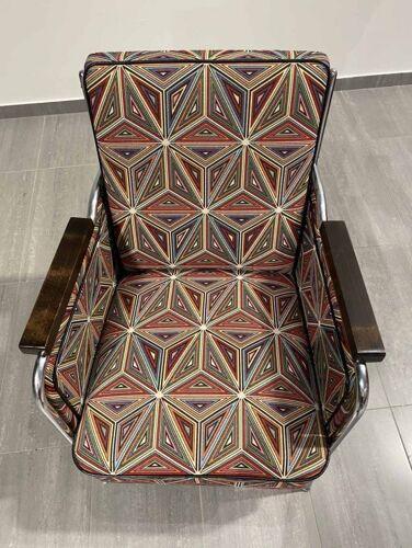 Paire de fauteuils chromés fonctionnalistes