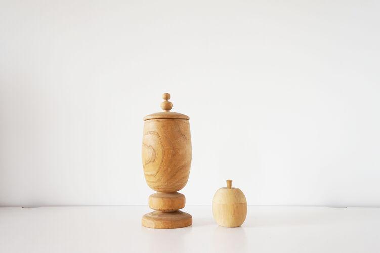 Paire de boîtes en bois vintage pomme