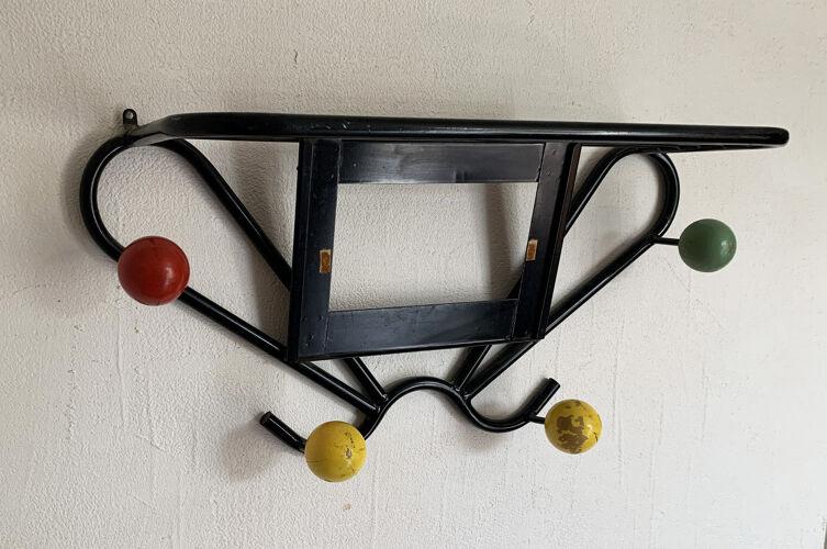 Vintage coat rack in metal and wood