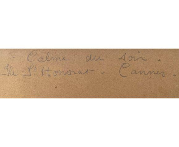 """Aquarelle Joséphine Vernay, Île st Honorat cannes """"calme au soir"""" marine"""