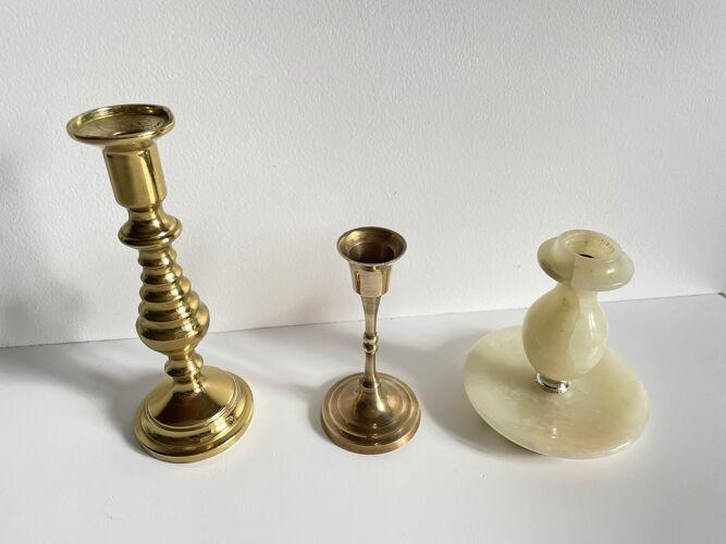 Trio de bougeoirs laiton et onyx vintage
