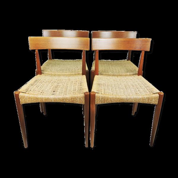 Selency Ensemble de 4 chaises à manger danoises par Arne Hovmand-Olsen pour Mogens Kold, années 1960