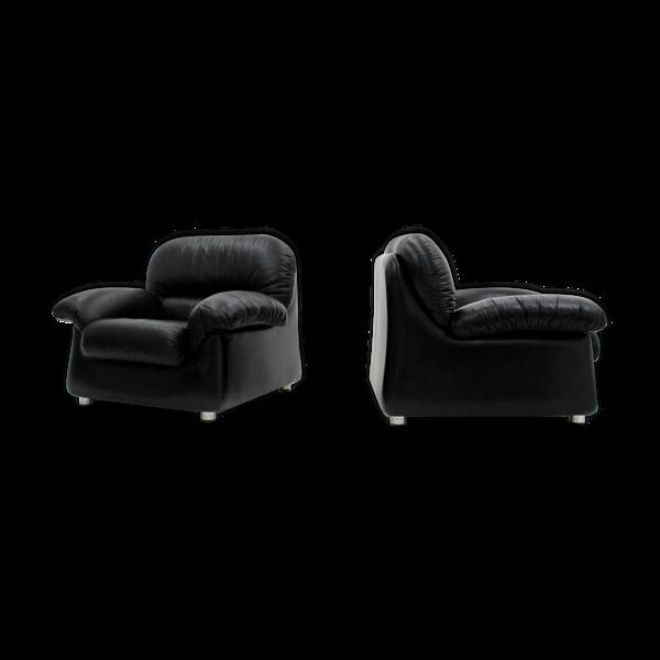 Paire de fauteuils vintage en cuir noir Sormani des années 1970
