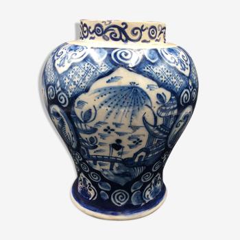 Delfts dutch atelier le paon xviiiè vase faïence restaure - antique vase 18thc