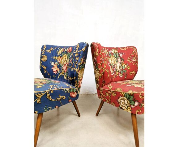 Set of 2 vintage expo cocktail chairs by Artifort 'Flower Chique'
