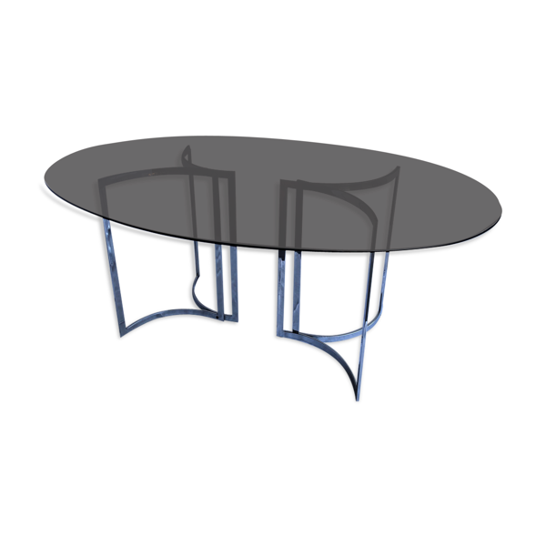 Selency Table en verre fumé