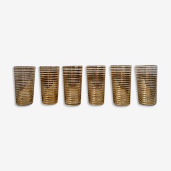 Set de 6 verres à orangeade années 1950