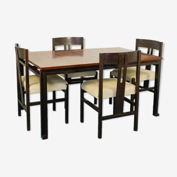 Table à manger et 4 chaises années 60