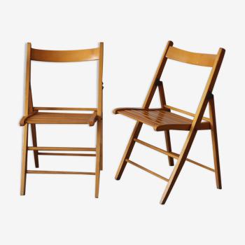 Chaises pliante en hêtre vintage