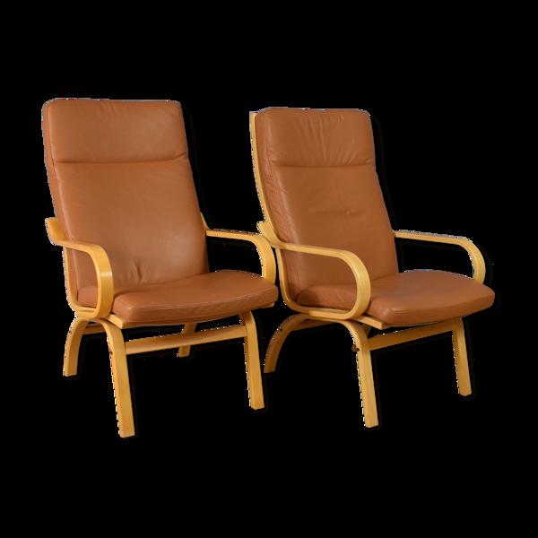 Selency Paire de fauteuils de milieu de siècle en cuir et base en hêtre, design danois