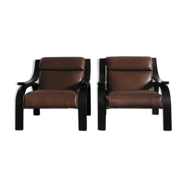 Paire de fauteuils Woodline design Marco Zanuso pour Arflex, 1964