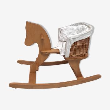 Cheval à bascule panier osier blanc Moulin Roty
