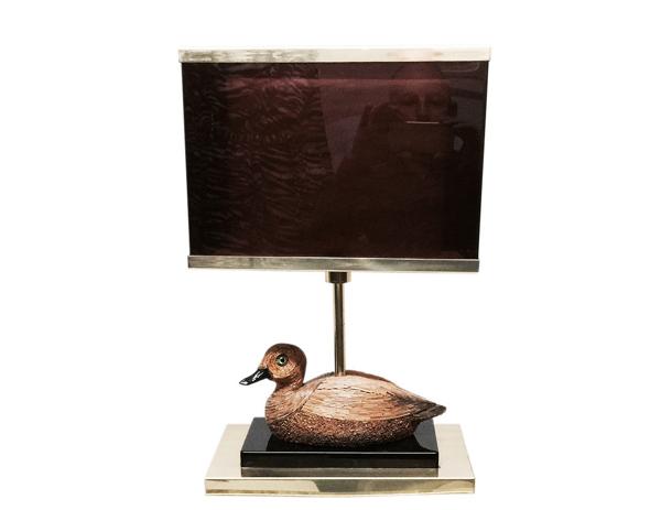 Lampe de table avec canard en rotin - 1969