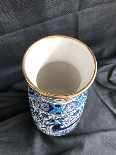 Vase grec vintage Nassos Hellas Rodos or bleu et blanc