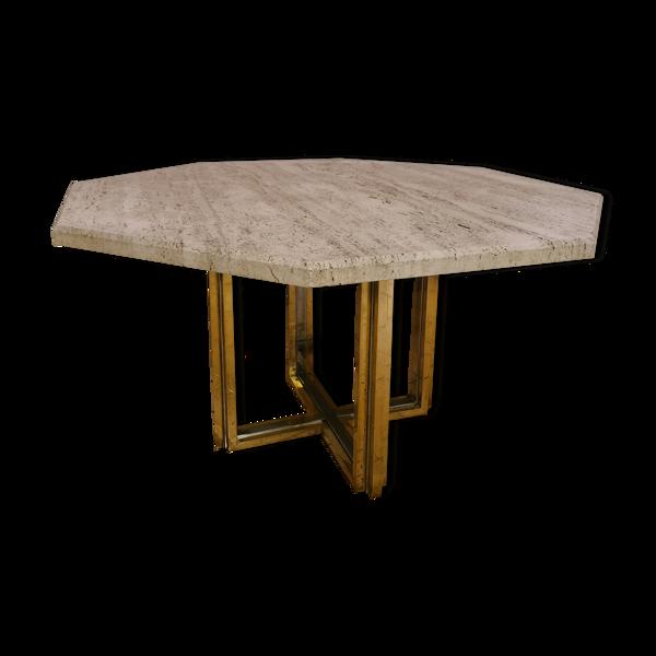 Table en laiton doré et chromé avec plateau en travertin