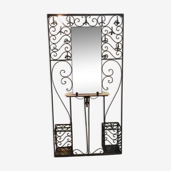 Portemanteaux vintage 1950's fer forgé, miroir, marbre