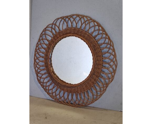 Miroir soleil fleur vintage en osier rotin