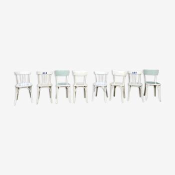 Lot de 8 chaises Baumann blanche en bois bistrot troquet vintage