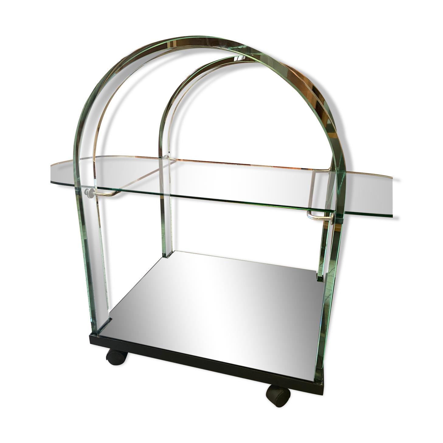 Desserte bar vintage en verre courbé et miroir/Fiam Italie