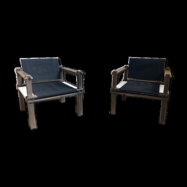 Selency Paire de fauteuil Safari par Gerd Lange