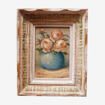 """Oil painting """"bouquet of roses"""" framed, circa 1950."""