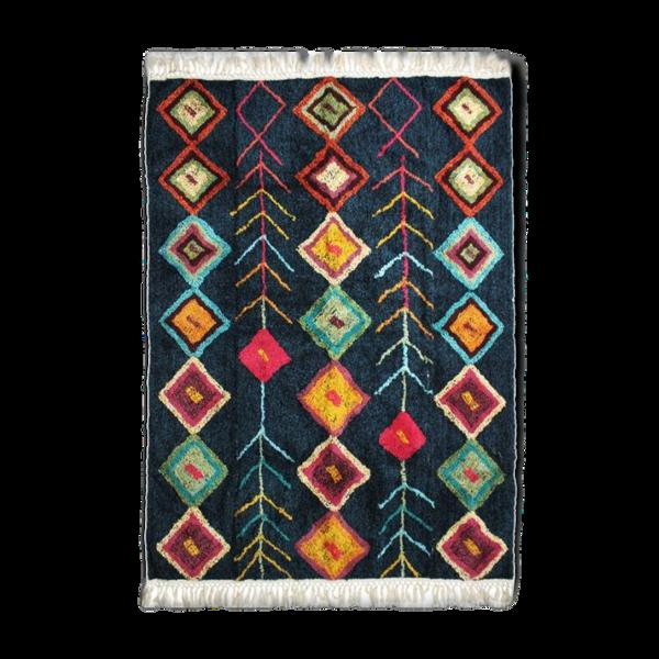 Tapis berbere 160 x 230 cm bleu motifs colorés