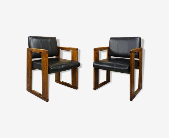 Paire de fauteuils design italien des années 70 par Afra & Tobia Scarpa modèle Dialogo