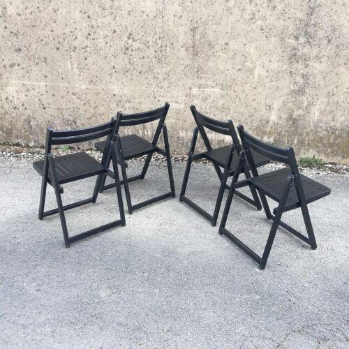 Set de 4 chaises pliantes noires