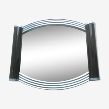 Plateau art déco miroir et tour aluminium cintré 2 poignées bois noir