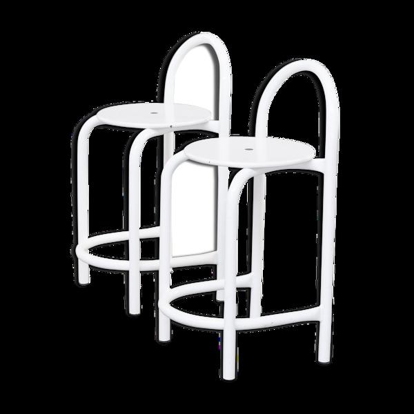 Selency Tabourets en métal blanc postmodernes