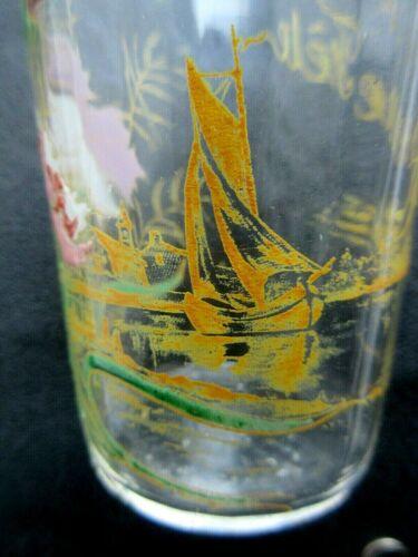 Verre bonne fëte art nouveau émaillé legras: oeillets multicolores et un voilier