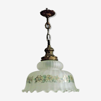 Français Mid Century Country Style PlafonnIer Blanc Frilled Floral Shade