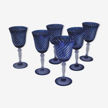 Cristal d'Arques - 6 Verres à eau modèle Valse bleue - Cristal double couche
