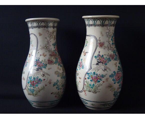 Paire de vases Japonais aux oiseaux émaux 36cm Japon XIX