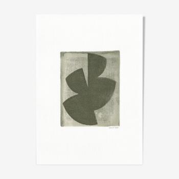 Peinture sur papier Illustration abstraite datée et signée M155