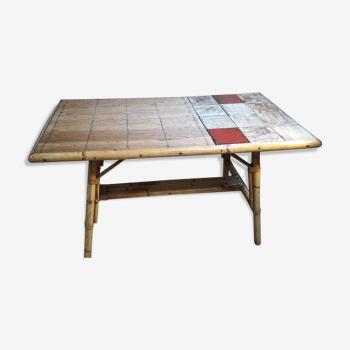 Table basse rotin 1950