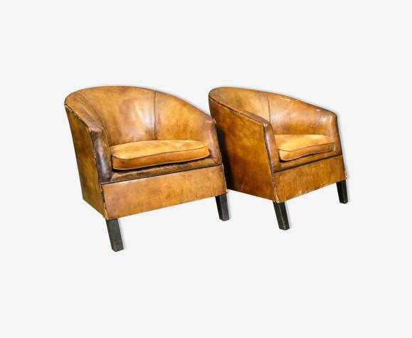 Set de 2 fauteuils vintage en cuir de mouton 'Charel' par Bart van Bekhoven