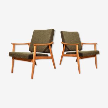 Pair of green Czechoslovak armchairs