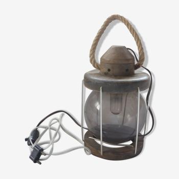 Lantern, vintage wooden lamp and glass globe