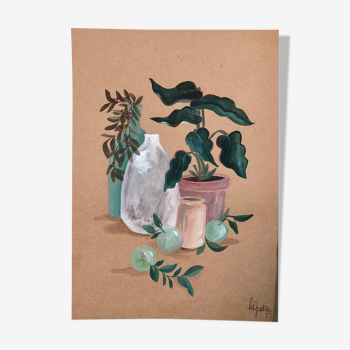 Painting A4 Pottery and green plants