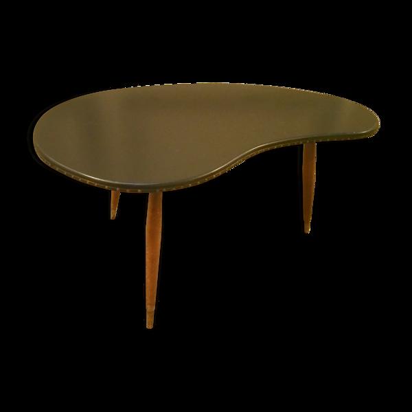 Selency Table basse tripode années 50/60 forme rein Skai noir